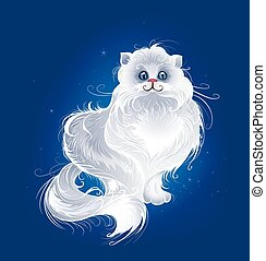 magic white Persian cat
