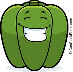 Cartoon Bell Pepper Grinning - A cartoon illustration of a...
