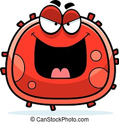 Evil Red Blood Cell - A cartoon illustration of an evil...