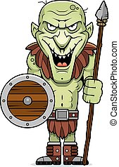 Cartoon Goblin Spear - A cartoon illustration of an evil...