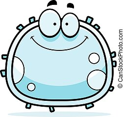 White Blood Cell Smiling - A cartoon illustration of a white...