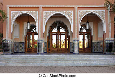 Oriental decorated entrance in Marrakech, Morocco