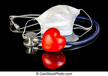 Medical supplies and a red heart with mask - Red heart and...