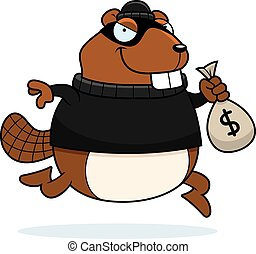 Cartoon Beaver Burglar - A cartoon illustration of a beaver...