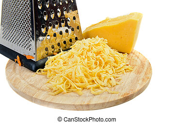 grated cheese ingredient on white