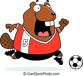 Cartoon Beaver Soccer - A cartoon illustration of a beaver...
