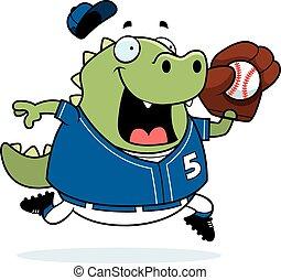 Cartoon Lizard Baseball - A cartoon illustration of a lizard...