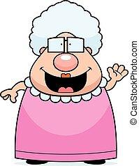 Cartoon Grandma Waving