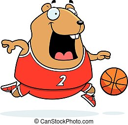 Cartoon Hamster Basketball - A cartoon illustration of a...