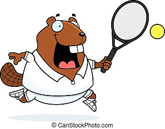 Cartoon Beaver Tennis - A cartoon illustration of a beaver...