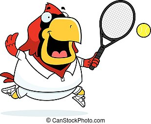 Cartoon Cardinal Tennis - A cartoon illustration of a...