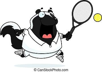 Cartoon Skunk Tennis - A cartoon illustration of a skunk...
