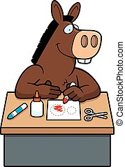Cartoon Donkey Crafts - A cartoon illustration of a donkey...