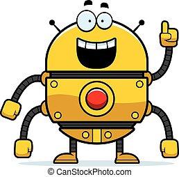 Gold Robot Idea - A cartoon illustration of a gold robot...