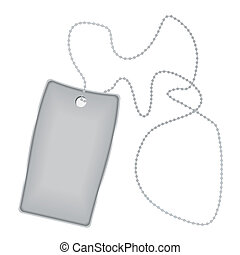 dog tag - Illustrated metal silver tag with chain and shadow