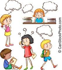crianças, com, vazio, pensamentos,