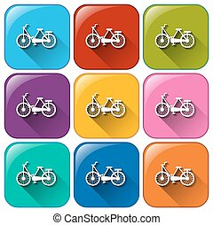 Buttons with pushbikes on a white background