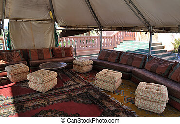 Inside of a traditional tent in Marrakech, Morocco