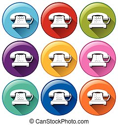 Telephone buttons on a white background