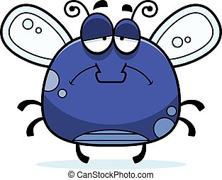 Sad Little Fly - A cartoon illustration of a fly looking sad...