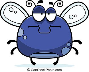 Bored Little Fly - A cartoon illustration of a fly looking...