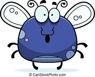 Surprised Little Fly - A cartoon illustration of a fly...