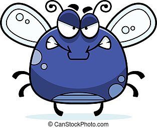 Angry Little Fly - A cartoon illustration of a fly looking...