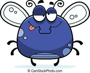 Drunk Little Fly - A cartoon illustration of a fly looking...