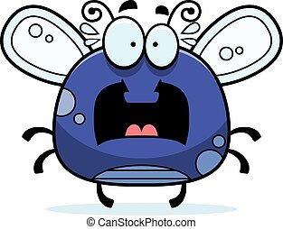 Scared Little Fly - A cartoon illustration of a fly looking...