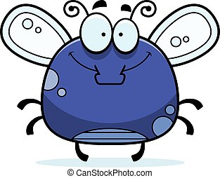Smiling Little Fly - A cartoon illustration of a fly...