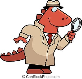 Cartoon Dinosaur Detective - A cartoon illustration of a...