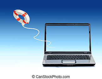 First help concept - Laptop and life preserver over sky...