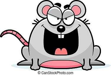 Sinister Little Mouse - A cartoon illustration of a sinister...