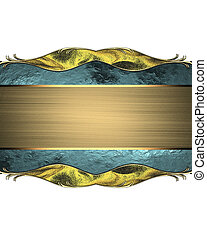 Abstract blue plate with gold trim and gold ribbon