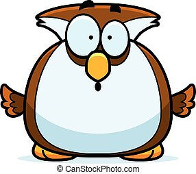 Surprised Little Owl - A cartoon illustration of a owl...