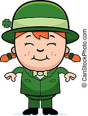Girl Leprechaun - A cartoon illustration of a girl...