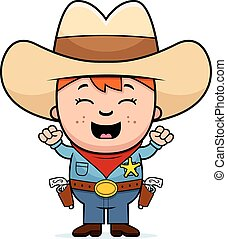 Excited Little Cowboy - A cartoon illustration of a little...
