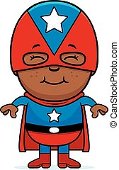 Little Superhero - A cartoon illustration of a boy superhero...