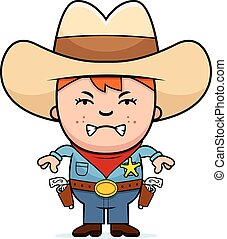 Angry Little Cowboy - A cartoon illustration of a little...