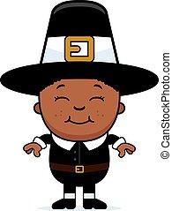 Child Pilgrim - A cartoon illustration of a boy pilgrim...