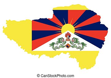 Tibet Flag - Flag of Tibet also know as the snow lion flag...