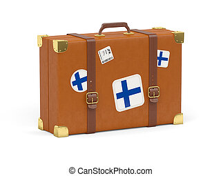 Suitcase with flag of finland - Travel suitcase with flag of...