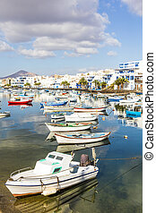 Arrecife in Lanzarote Charco de San Gines boats and...
