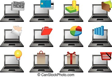 Laptop Computer with Icons Vector Illustration - Vector...