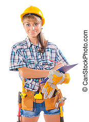beautiful female worker wearing sleeveless shirt with many...