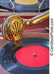 old gramophone view on speaker on vinil disk