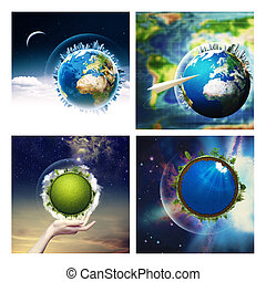 Abstract environmental backgrounds set with Earth globe for...