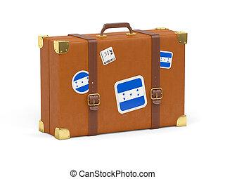 maleta, con, bandera, de, honduras,