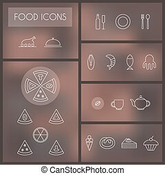 Set of food thin line icons for web and mobile.