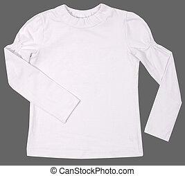 Child female shirt isolated on gray background